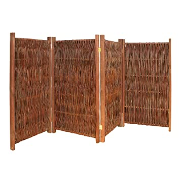 Lieblich Gartenpirat Weiden Paravent Raumteiler 4 Teilig 240x140 (LxH) Aus Holz +  Weide