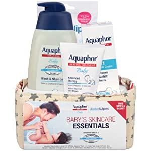 Aquaphor Baby Welcome Baby Gift Set - Free WaterWipes and Bag Included - Healing Ointment, Wash and Shampoo, 3 in 1 Diaper Rash Cream