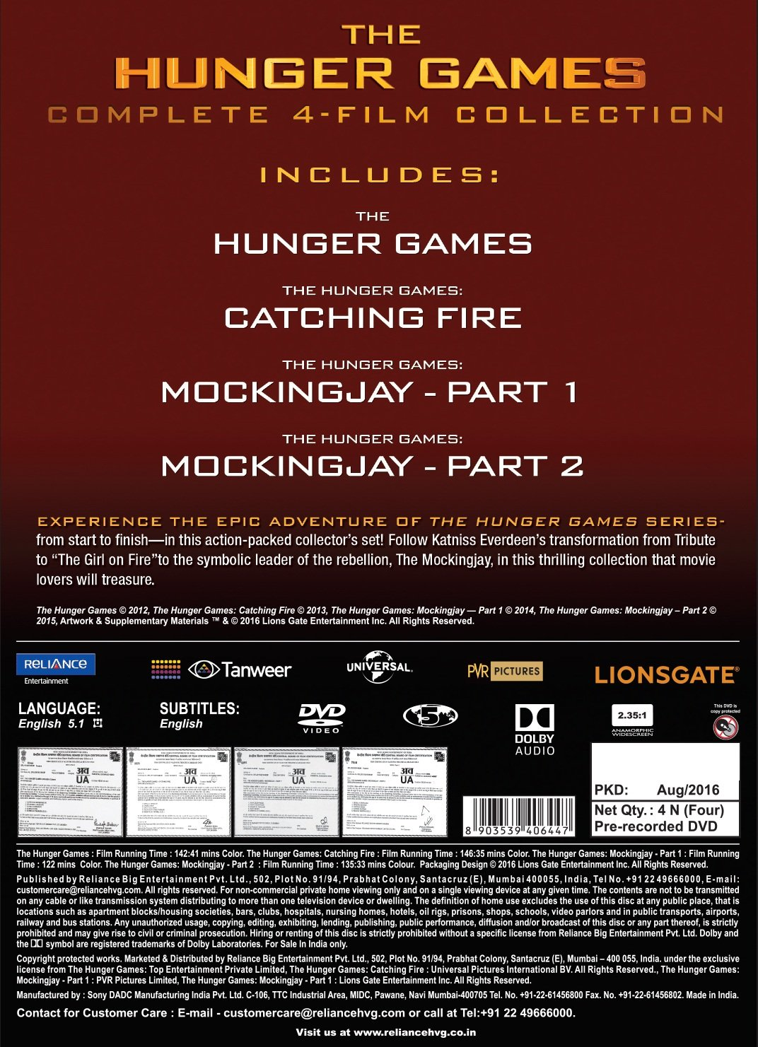 Amazon in: Buy The Hunger Games Complete Collection DVD, Blu-ray