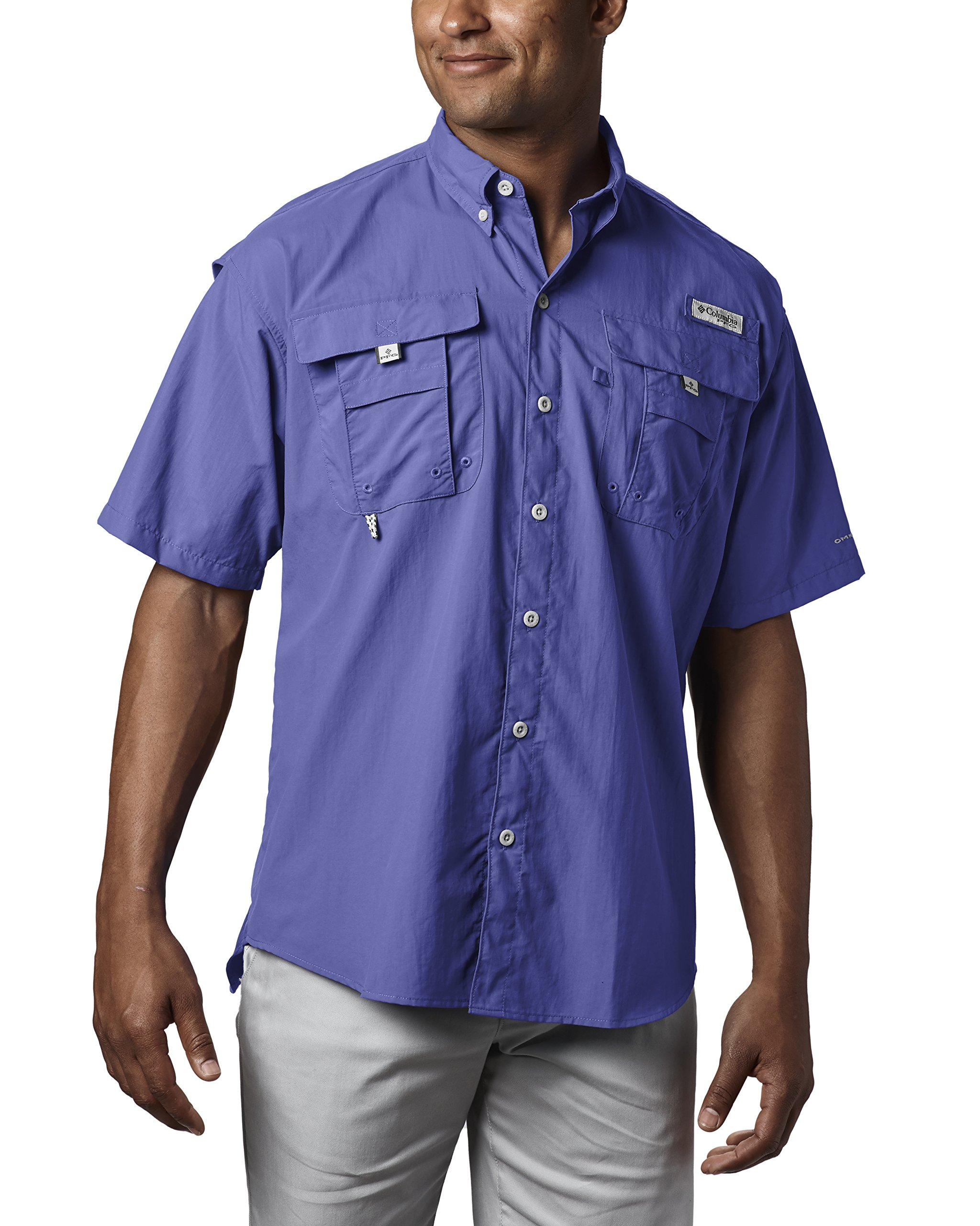 Columbia Men's PFG Bahama II Short Sleeve Shirt, Purple Lotus, Large by Columbia