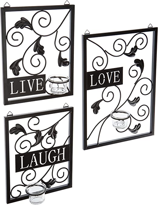 Amazon Com Accent Plus Live Love Laugh Candleholder Wall Decor 11x3x15 Home Kitchen