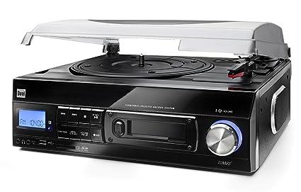 Dual 72960 - Tocadiscos con reproductor de casetes (lector de USB y SD, LCD