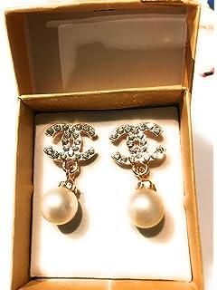 10e9784d7f2921 Women's Fashion Earrings Korean Style Shinny Design Earrstud (Gold Crystal  Pearl)