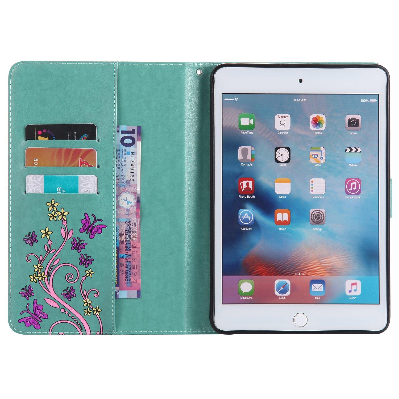 Slynmax iPad Mini 4 Case Black,iPad Mini 4 Leather Case 1* Stylus Pen Flower Butterfly Design Embossed Flip Notebook Cover Smart Shell Kickstand Function Card Holder Cash Pocket