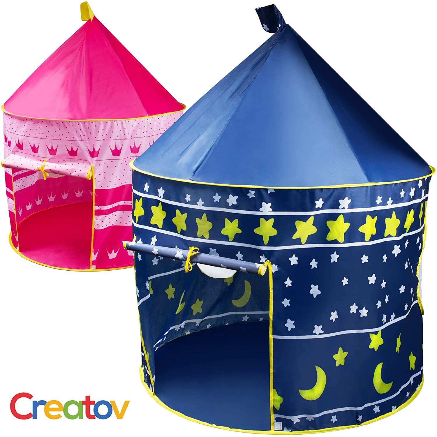 Kids Tent Toy Prince Playhouse - Toddler Play House Blue Castle for Kid Children Boys Girls Baby for Indoor & Outdoor Toys Foldable Playhouses Tents with Carry Case Great Birthday Gift Idea by Creatov