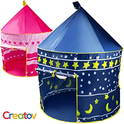 Kids Tent Toy Prince Playhouse   Toddler Play House Blue Castle For Kid Children Boys Girls Baby For Indoor &Amp; Outdoor Toys Foldable Playhouses Tents With Carry Case Great Birthday Gift Idea By Creatov by Creatov Design