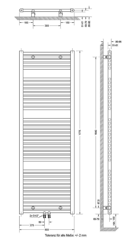 Design-Heizk/örper f/ür Zweirohr-System Schulte Badheizk/örprer Bavaria Mittelanschluss unten 121 x 60 cm alpin-wei/ß