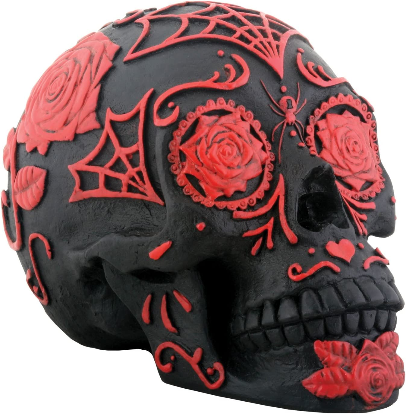 SUMMIT COLLECTION Day of The Dead Black and Red Tattoo Sugar Skull Collectible