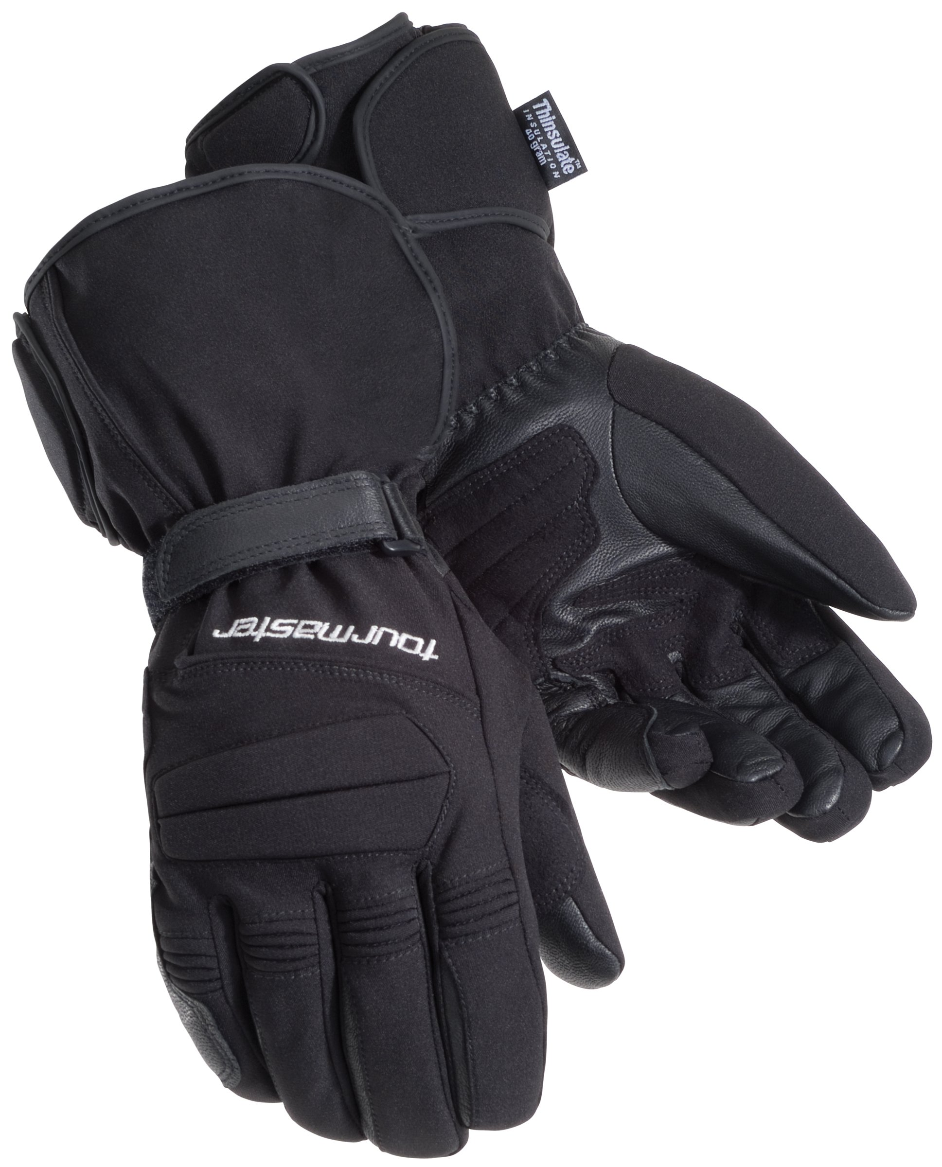 Tour Master Synergy 2.0 Electrically Heated Mens Textile Street Racing Motorcycle Gloves - Black / 2X-Large