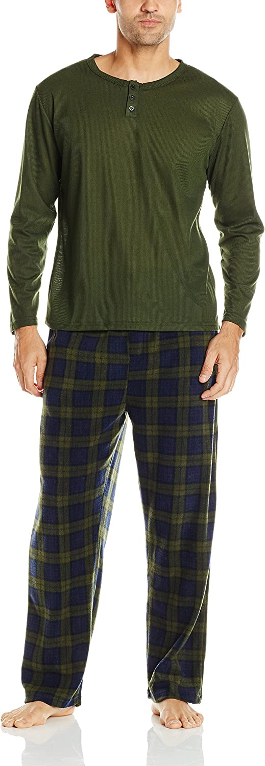 Essentials by Seven Apparel Men's Long-Sleeve Top and Fleece Bottom Pajama Set at  Men's Clothing store