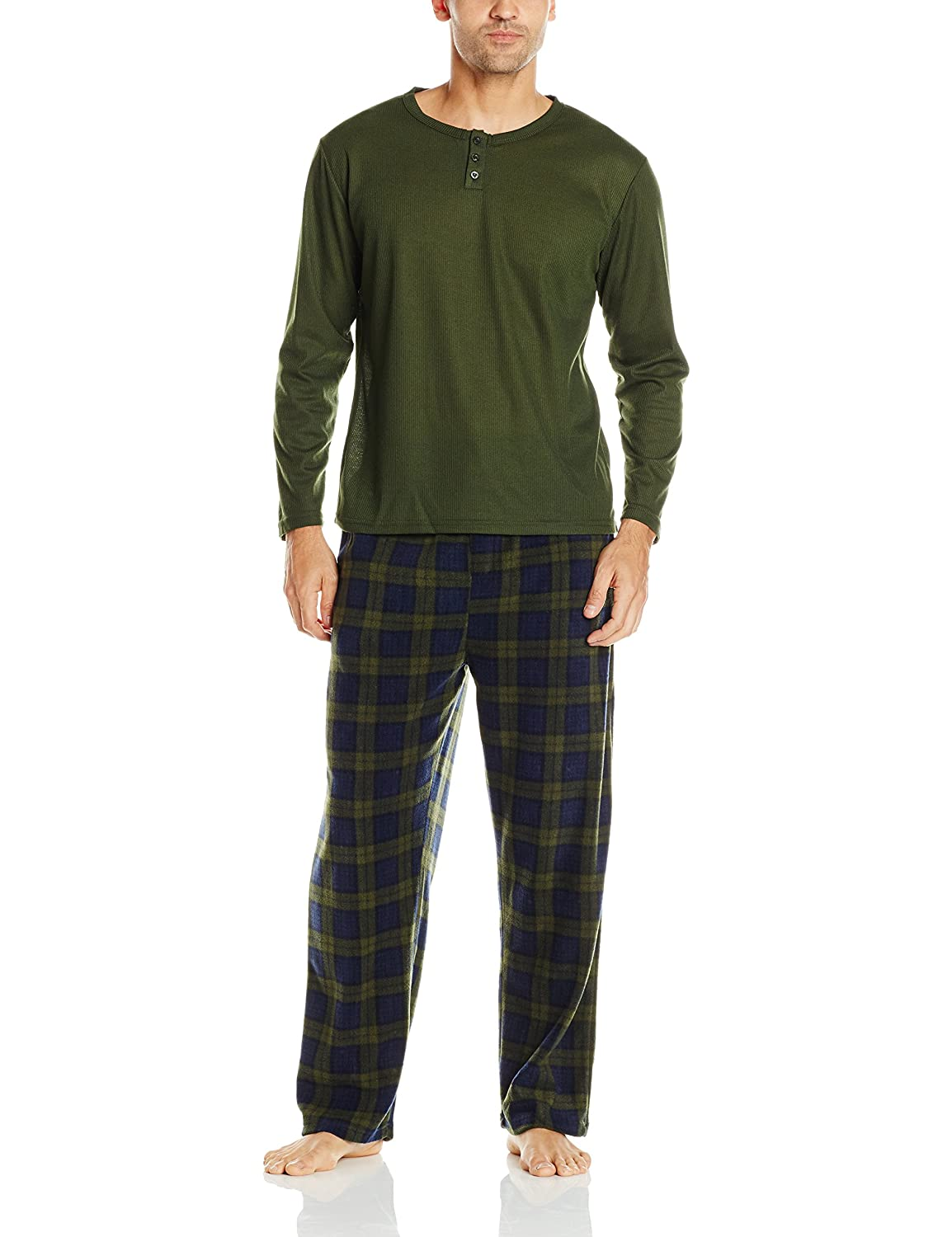 Essentials by Seven Apparel Men's Long-Sleeve Top and Fleece Bottom Pajama Set 13049