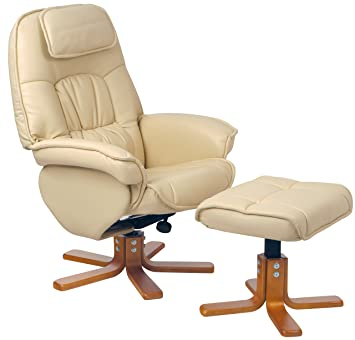 relaxateeze avanti cream leather swivel recliner chair foot stool