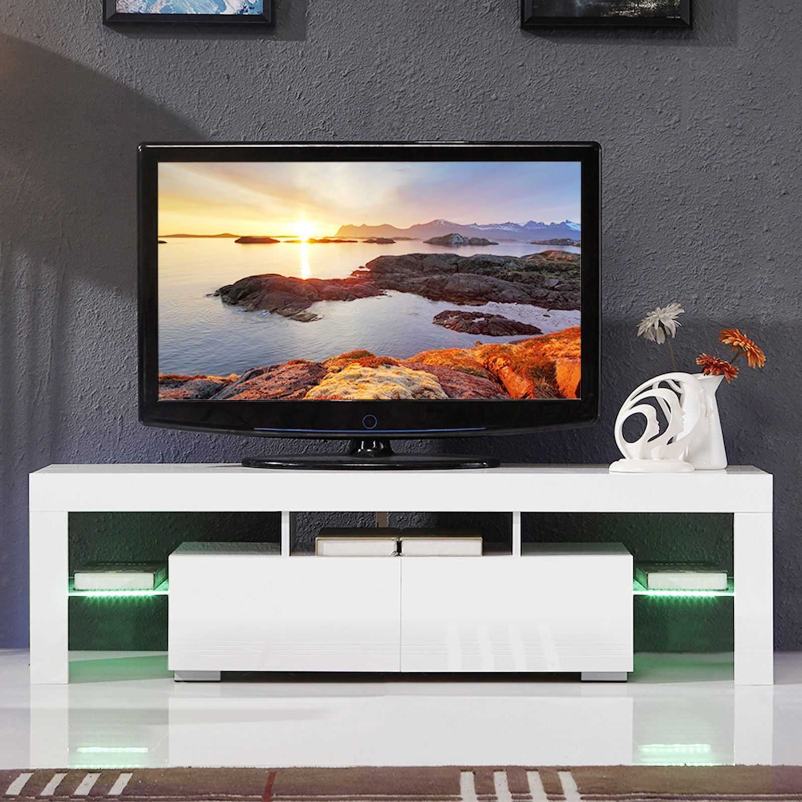 Furniture TV stand cabinet hi gloss modern style living room entertainment center with LED light Fit for up to 60'' flat TV screens by OHOJIDA