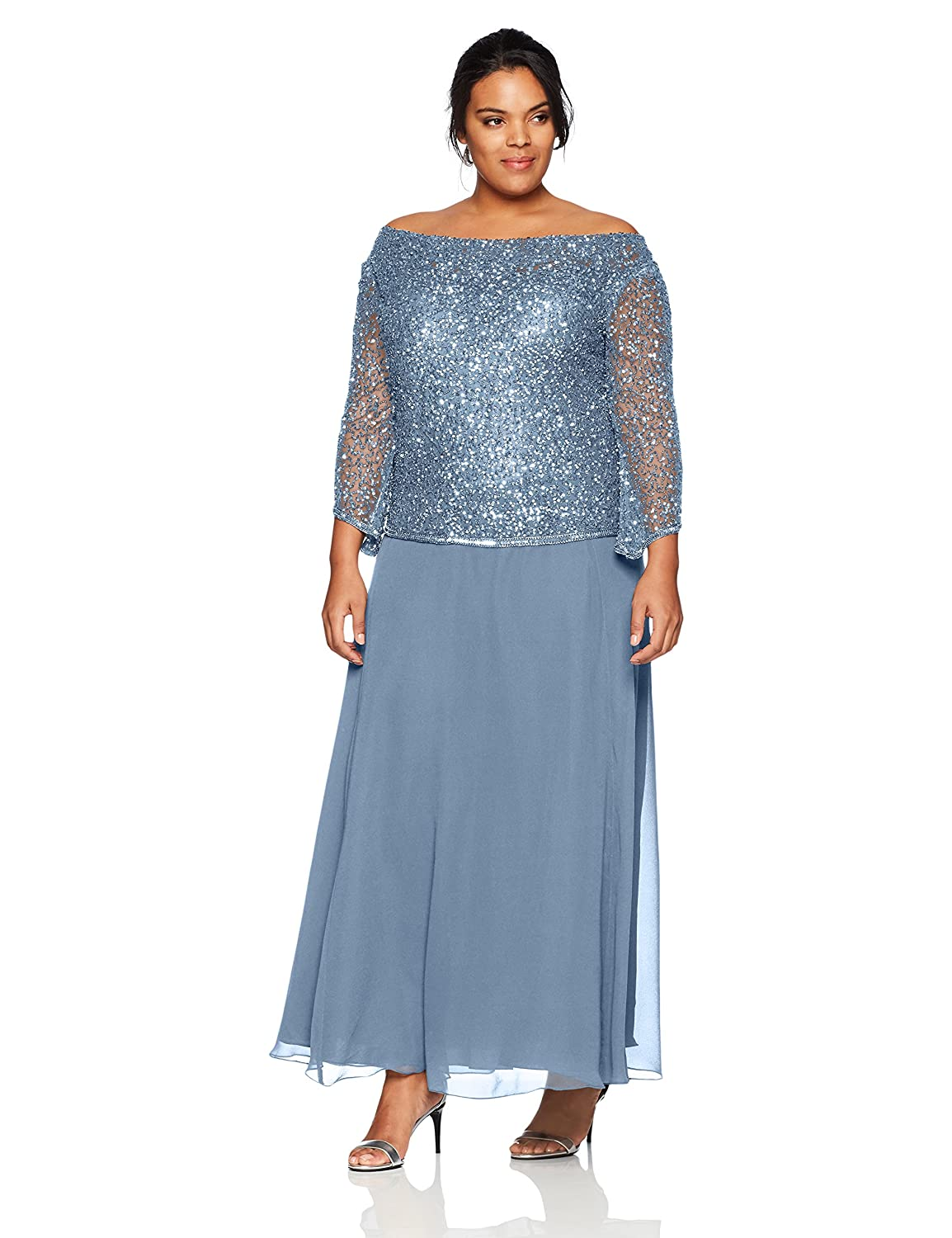 Dusty bluee bluee J Kara Womens Plus Size Long Beaded Dress with Cowl Neck Special Occasion Dress
