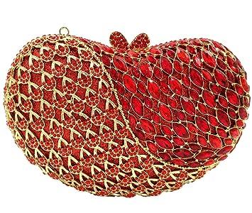 Noche Bolso Mujer Bolsas Fiesta Boda Carteras Brillo Mano Diamantes Cadena Embrague Corazón de Manzana Rojo: Amazon.es: Equipaje