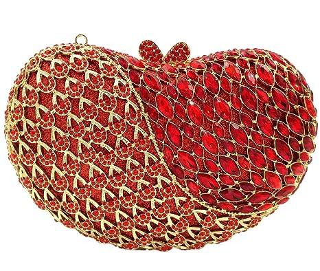 Noche Bolso Mujer Bolsas Fiesta Boda Carteras Brillo Mano Diamantes Cadena Embrague Corazón de Manzana Rojo