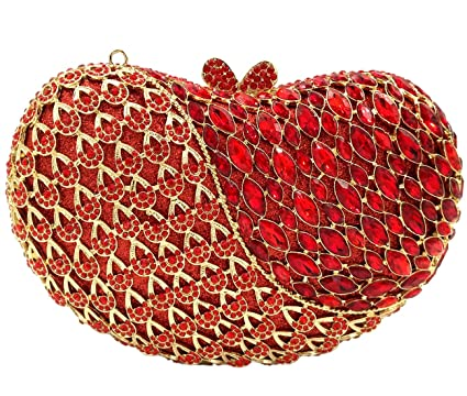 Elegant Evening Bags For Womens Clutches Purse Chain Wallet Handbags Crystal Party Apple Red