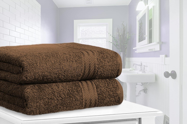 restmor Knightsbridge Set de 2 Toallas de Baño Extra-Grandes de 100% Algodón Egipcio Peinado 500g/m2 Chocolate: Amazon.es: Hogar