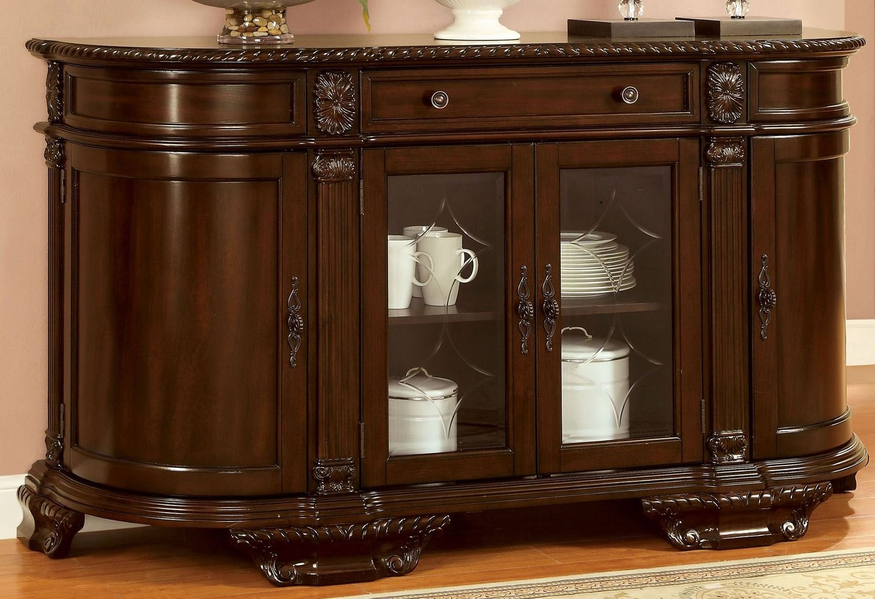 Furniture of America CM3319SV Bellagio Brown Cherry Server Dining Room Buffet by Furniture of America