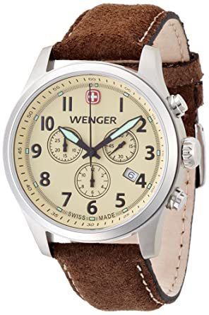 Wenger Terragraph Chrono Mens Quartz Watch with Beige Dial Analogue Display and Brown Leather Strap 010543105