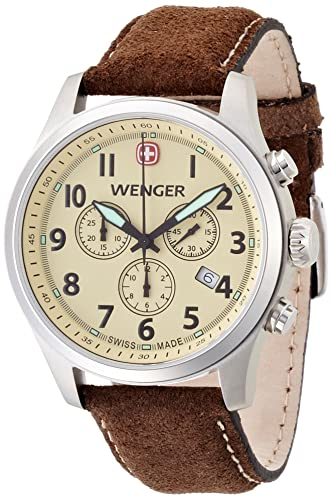 Wenger Terragraph Chrono Men s Quartz Watch with Beige Dial Analogue  Display and Brown Leather Strap 010543105  Amazon.co.uk  Watches b0f96ce7b65