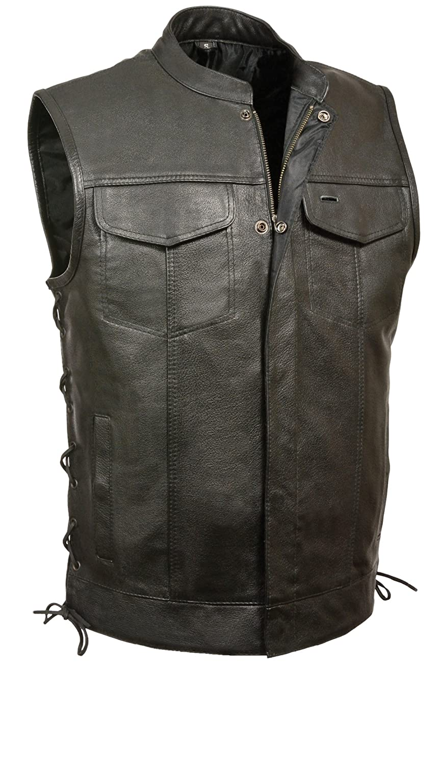 Milwaukee Leather  Mens Scooter Collar Vest with Zip and Side Lace Black, 5X-Large