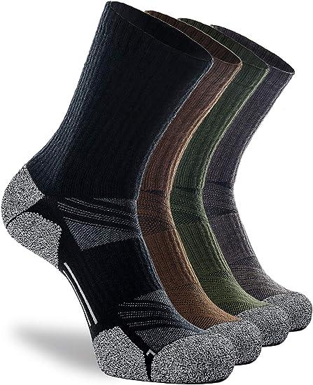 Amazon.com: Hiking Crew Socks, 4-Pack Elite Full Cushion Winter Thick Warm Boot Socks for Hunting Ski Work Walking: Clothing