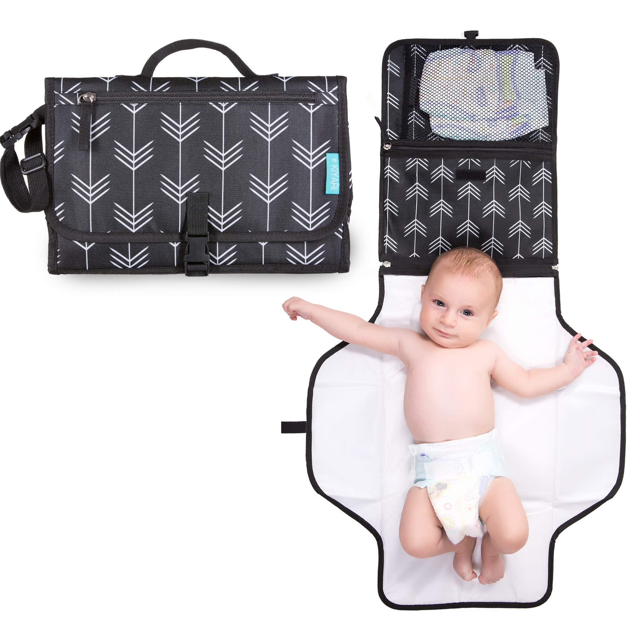Portable Diaper Changing Pad with Head Pillow - Foldable Travel Diaper Station - Replaces Heavy Diaper Bag - Baby Shower Gift Registry Must Have by Kiyari