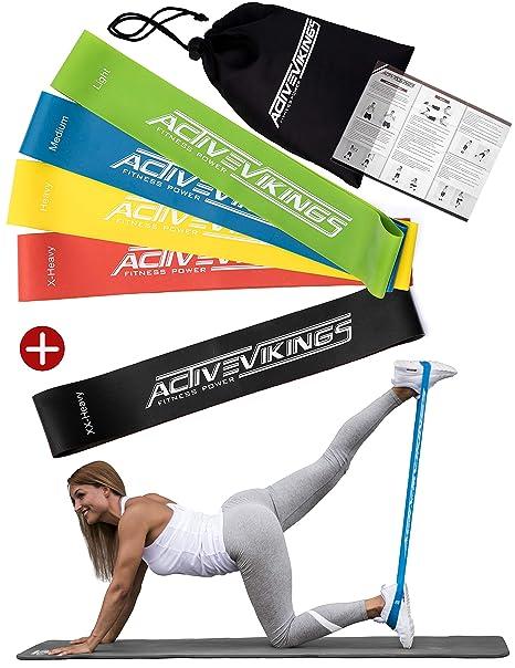 Fitnessbänder Set 5-Stärken by ActiveVikings® - Ideal für Muskelaufbau Physiotherapie Pilates Yoga Gymnastik und Crossfit | F