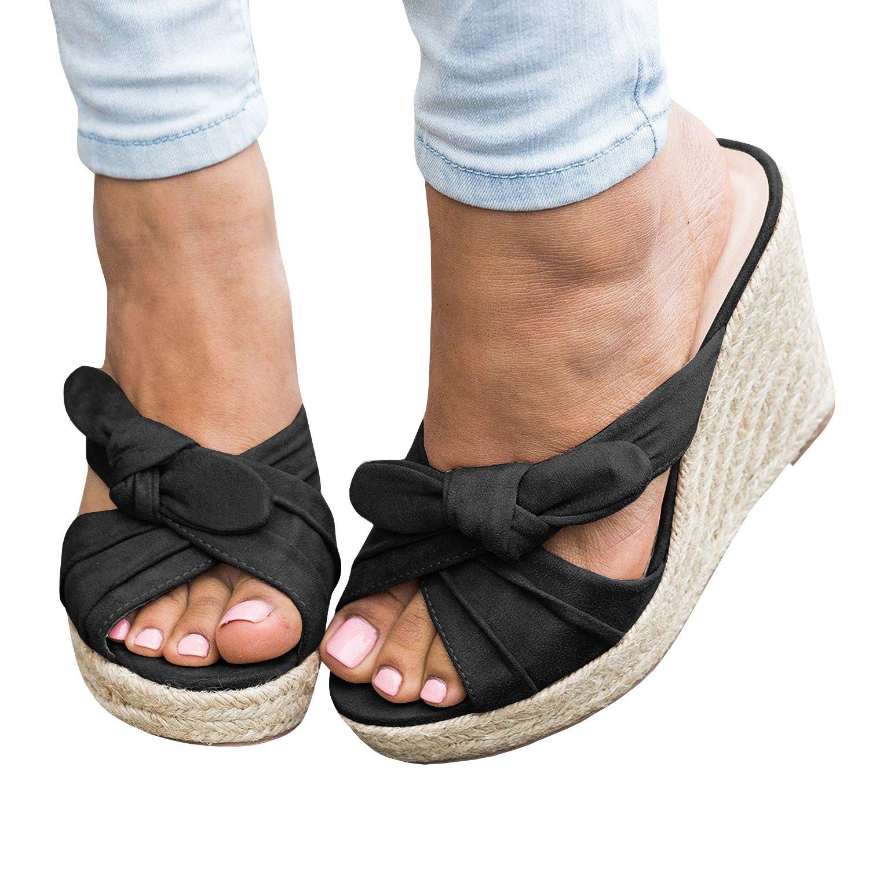 f28a0676005 Syktkmx Womens Platform Wedge Espadrille Slides Slip on Heeled Tie ...
