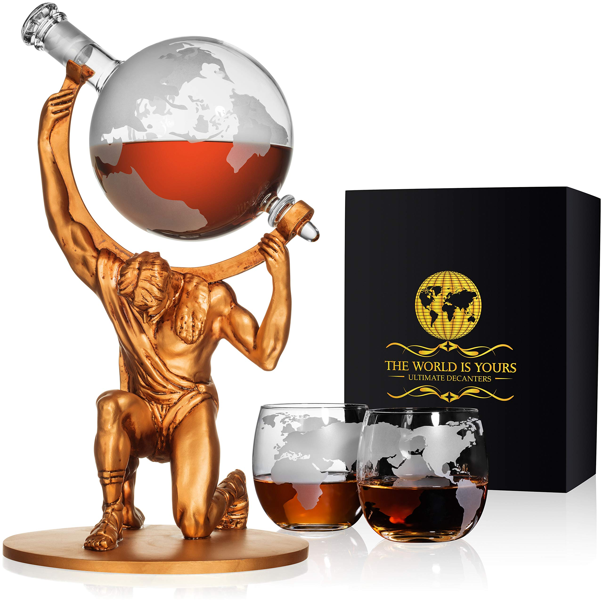 Atlas Man Whiskey Decanter Globe Set - With 2 Etched Globe Whiskey Glasses - For Whiskey, Scotch, Bourbon, Cognac and Brandy - 1000ml by NatureWorks (Image #1)
