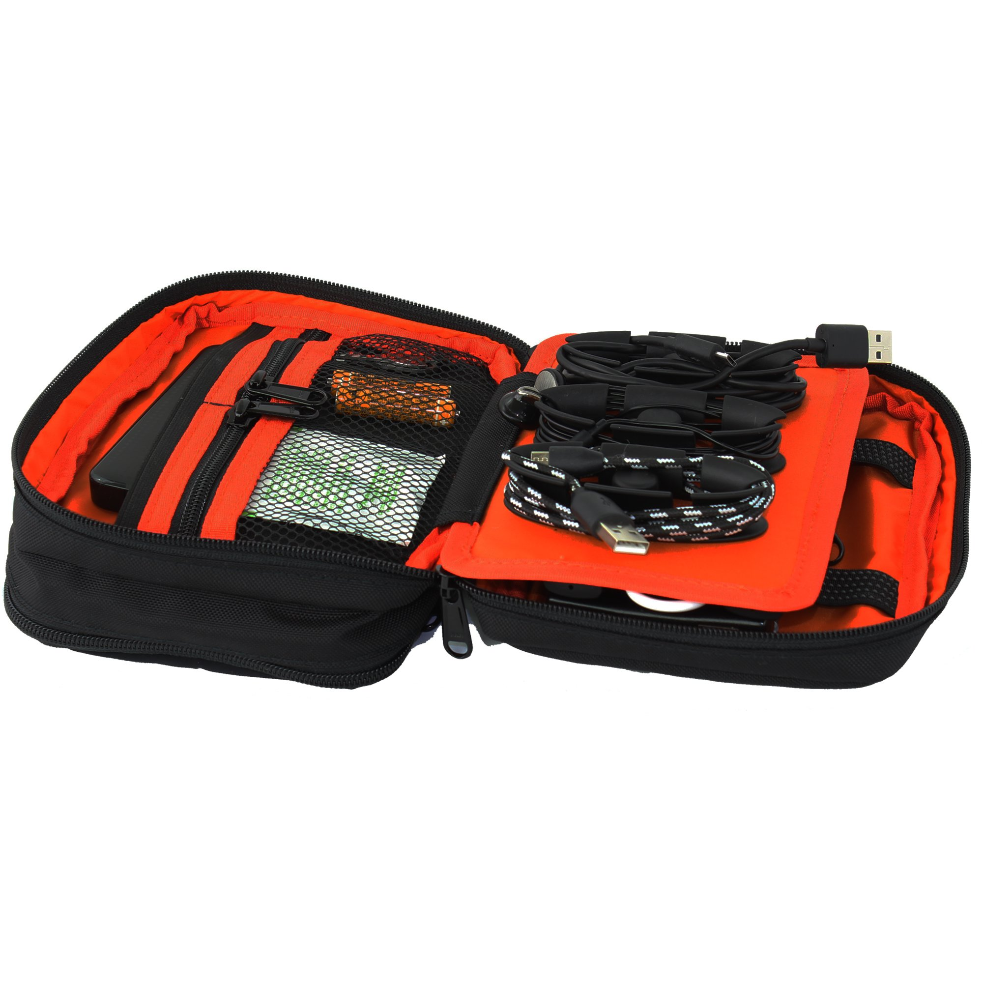 Taskin Stash Electronics Organizer Travel Bag with Magnetic Cable Clips