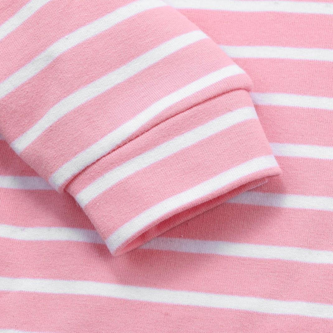 2pcs Toddler Baby Boy Girl Autumn Stripe Hoodie Sweatshirt Long Sleeve Tops + Patch Pants Clothes Set Outfits (Pink, 3T) by Aritone - Baby Clothes (Image #6)