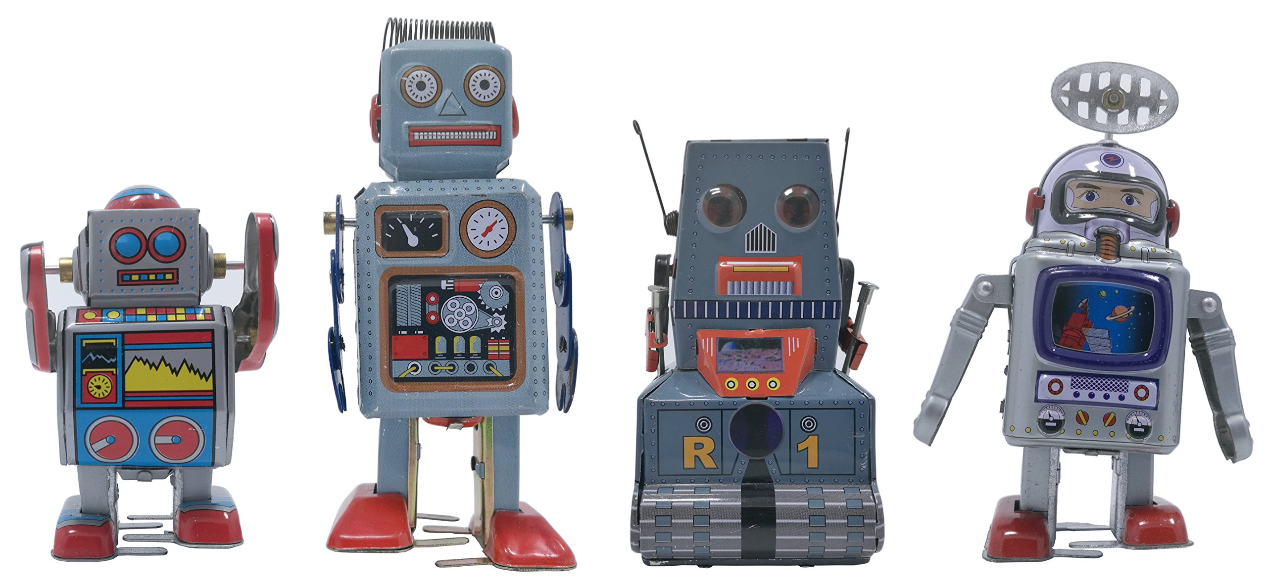 4 pcs tin toy Robot and Astronaut Collection retro 80s vintage windup metal, cool crazy nerdy gift