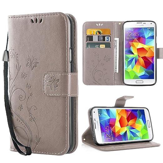3 opinioni per Cover Galaxy S5, Retro Farfalla Fiore Modello Stampata Design Con Cinturino da