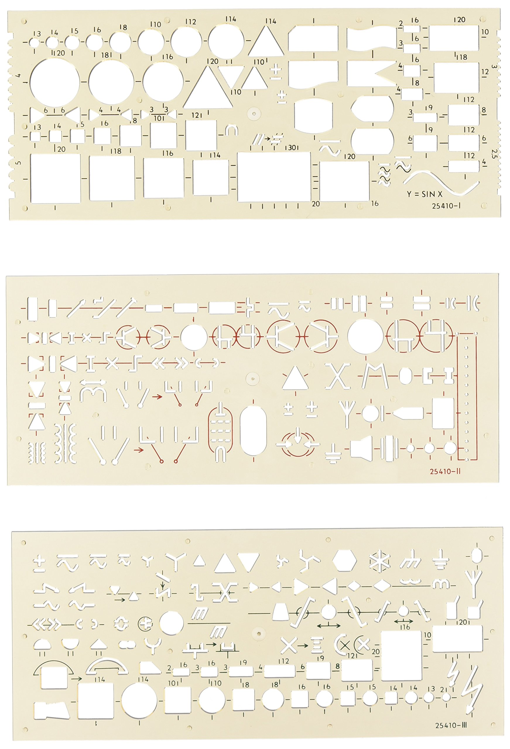 Koh I Noor Set Of 3 Electro Templates Electrical Home School All Day Long Schematics And Schematic Symbols Stencil Office Products