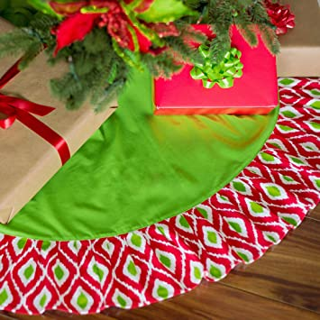 Amazon 48 Inch Decorative Pattern Christmas Tree Skirt Ikat Red And Green Home Kitchen
