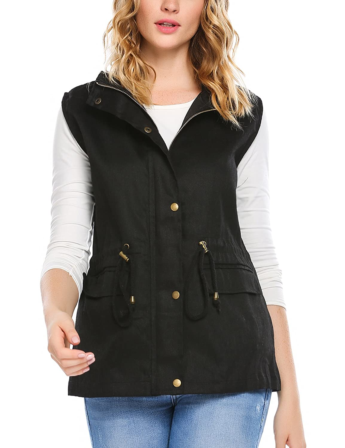 e157c8a864e7f Zeagoo Womens Lightweight Sleeveless Military Safari Utililty Anorak Vest  at Amazon Women s Coats Shop