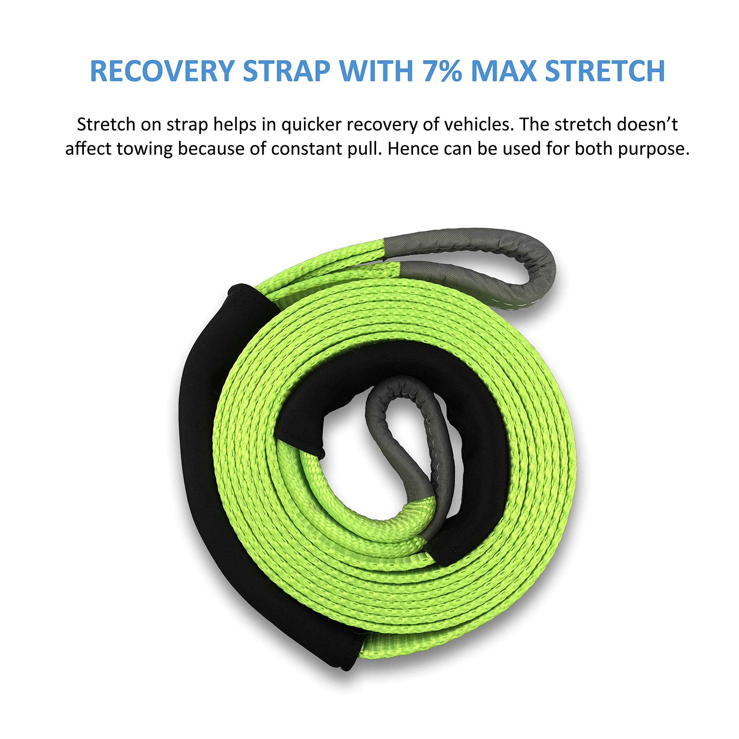 Ultimate Tow Recovery Strap 35000lb - Recover Your Vehicle Stuck in Mud/Snow - Heavy Duty 3'' x 20' Winch Snatch Strap - Protective Loops, Water-Resistant - Off Road Truck Accessory - Bonus Storage Bag by Sunferno