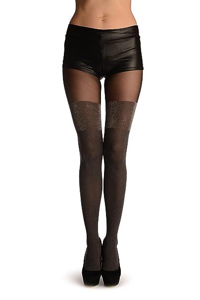 2ebfff127c9 Grey Faux Stockings With Silver Lurex Top - Grey Pantyhose (Tights ...