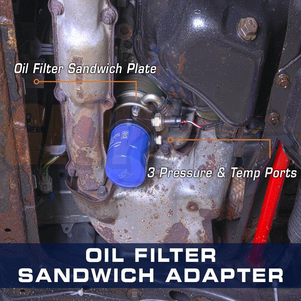 Glowshift Oil Filter Sandwich Adapter 13 16 Thread Gmc Envoy Automotive