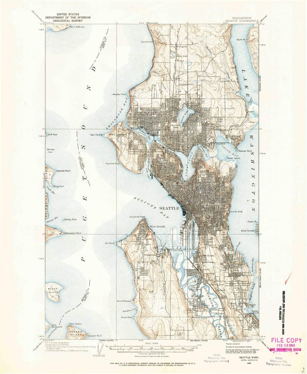 1908 YellowMaps Seattle WA topo map 1:62500 Scale 15 X 15 Minute 21 x 17 in Historical Updated 1964