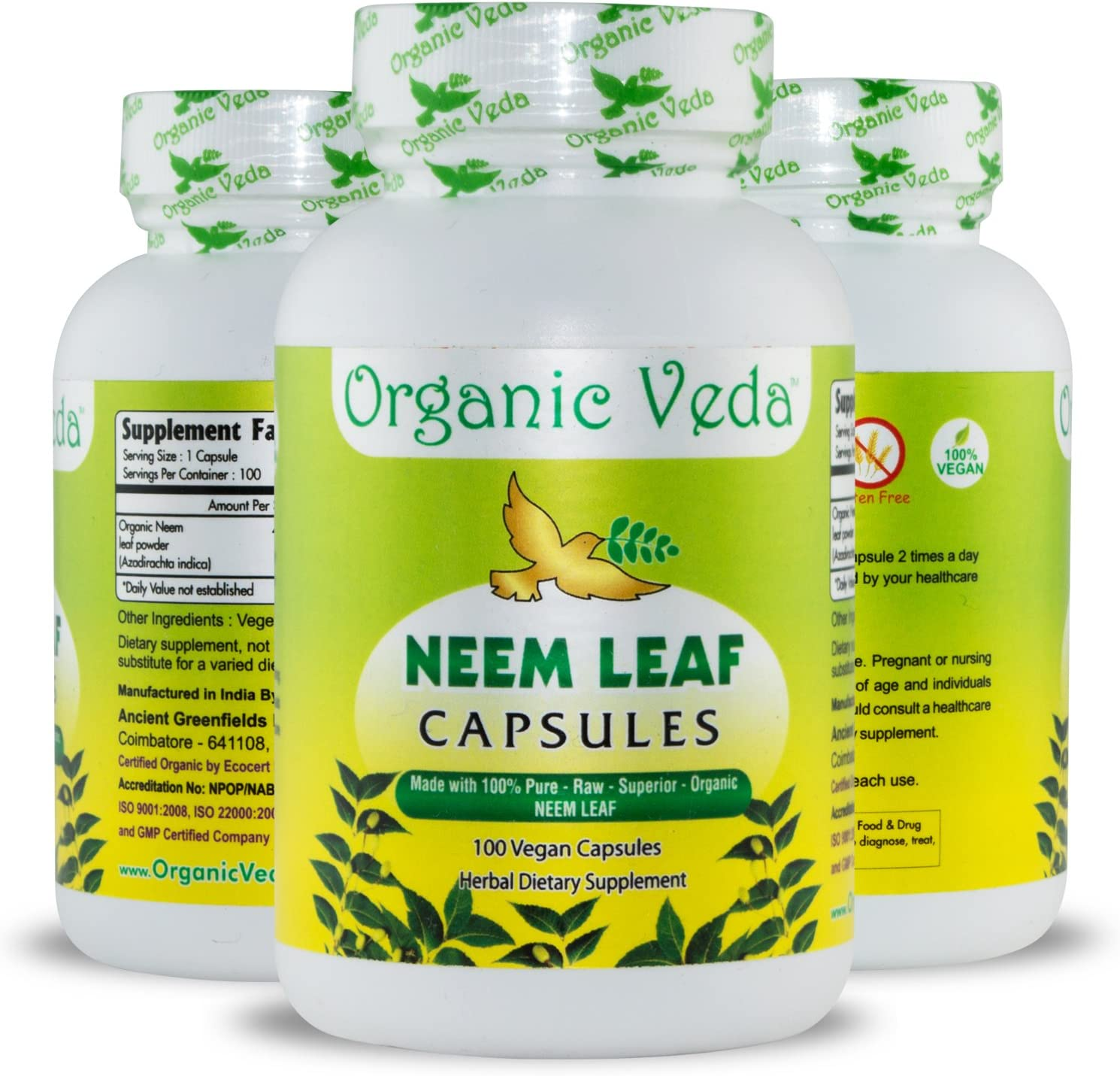 Organic Neem Leaf Powder 100 Veg Capsules. 100% Pure and Natural Raw Herb Super Food Supplement. Non GMO, Gluten FREE. US FDA Registered Facility. Kosher Certified Vegetarian Capsule. All Natural!: Health & Personal Care