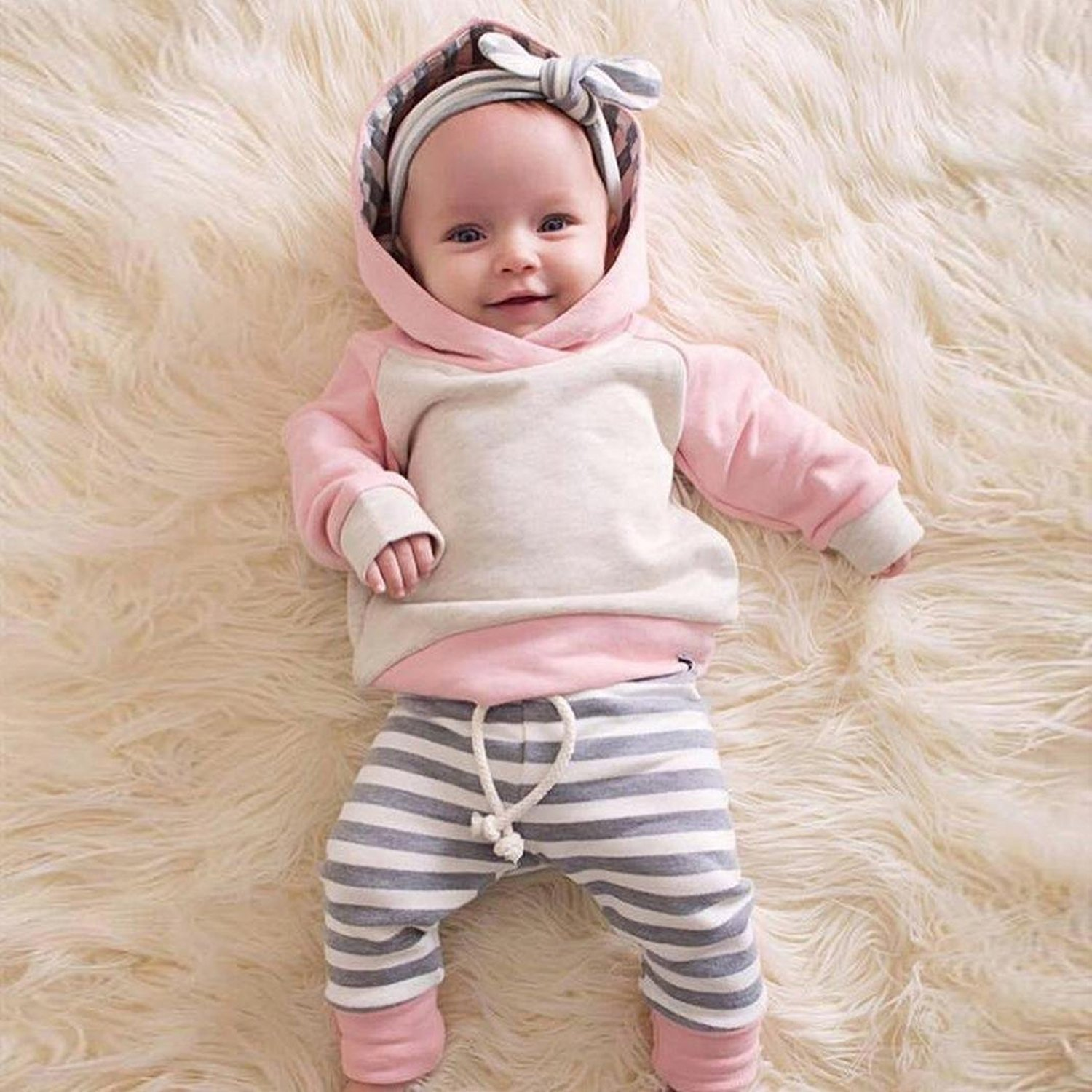 Baby Girls' Clothes Long Sleeve Hoodie Tops, Striped Pants+Headband Outfits Set (18-24 Months) by TUEMOS (Image #2)