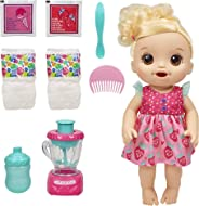 Baby Alive Magical Mixer Baby Doll Strawberry Shake with Blender Accessories, Drinks, Wets, Eats, Blonde Hair Toy for Kids A