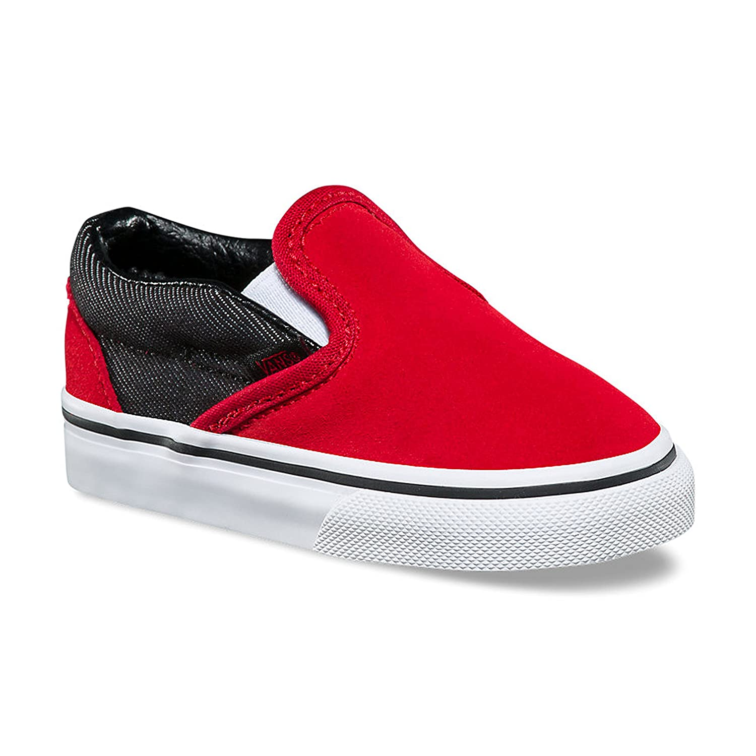 95b25c05c6 Vans Toddler Classic Slip-On VN0A32QJQ6W (Suede/Suiting) Racing Red/Black  Denim Skate Shoes