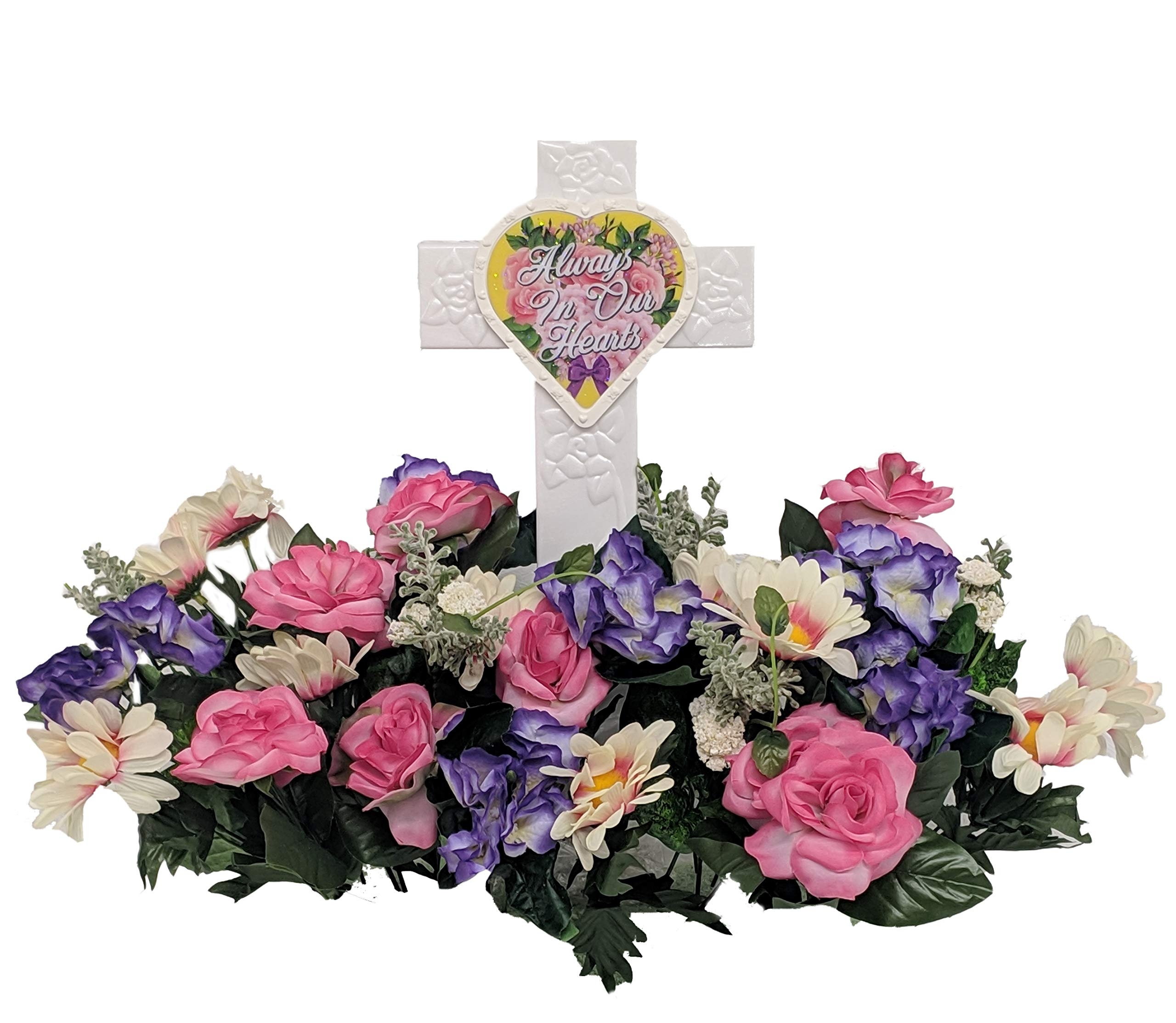 Fire Glo Solar Powered Glow in The Dark Memorial Cross with Flower Bouquette-Graveyard/Cemetary Decorations (Always in Our Hearts)