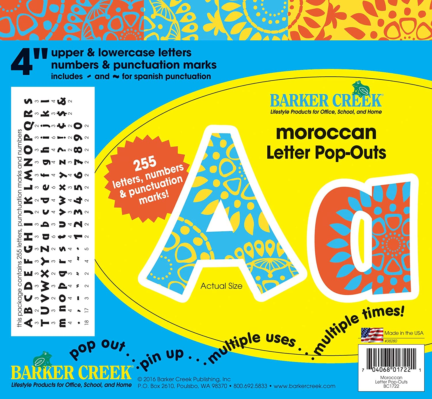 """Barker Creek 4"""" Moroccan Pop-Out Letters (BC1722)"""