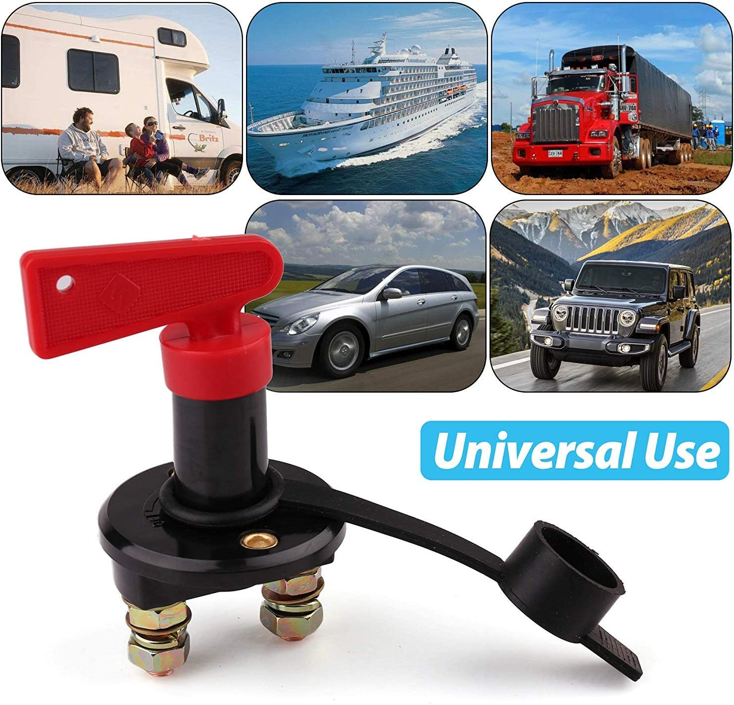 With Waterproof Key and Cover 6V 12V 24V Battery Isolator Power Kill Switch for Marine Car Boat RV ATV Vehicles LotFancy 2 PCS Battery Disconnect Switch