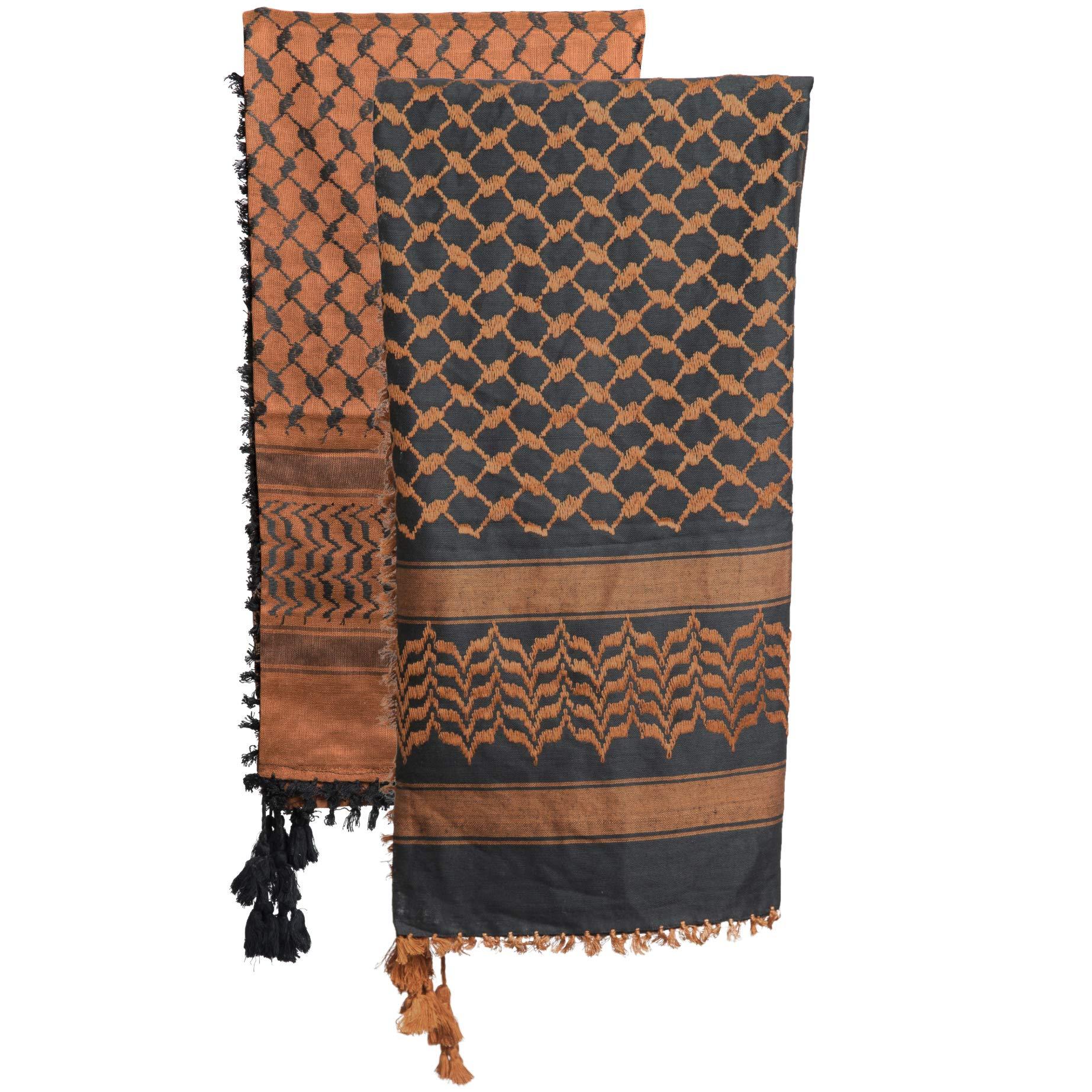 2 Pack Mora Premium Shemagh Scarf Large 100% Cotton Arab Tactical Military Desert Head Neck Keffiyeh Wrap (Brown Black)